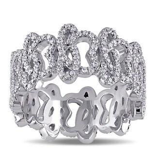 Miadora Signature Collection 14k White Gold 1ct TDW Diamond Abstract Design Ring