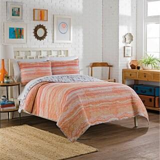 Vue Zensa 100-percent Cotton Reversible Feather Print 3-piece Quilt Set