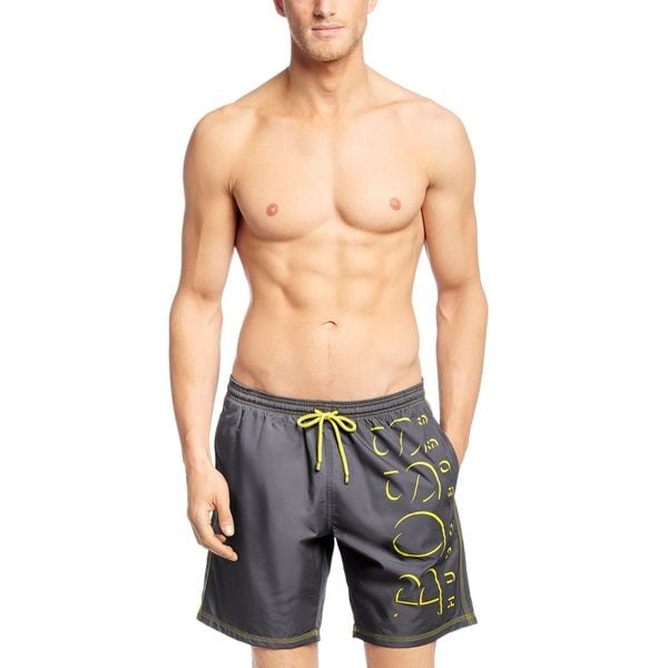 63101aabd5066 Shop Hugo Boss Men's Killifish Grey Logo Swim Trunks - Free Shipping ...