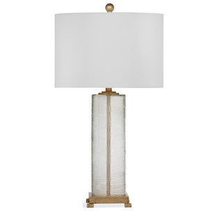 Maroa 35-inch Gold and clear Glass Table Lamp