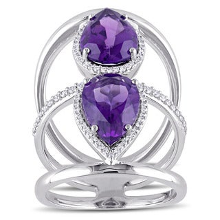 Miadora Signature Collection 14k White Gold Pear-Cut African Amethyst 1/5ct TDW Diamond Halo Triple Row Ring (G-H, SI1-SI2)