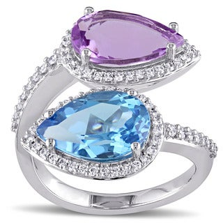 Miadora Signature Collection 14k White Gold Pear-Cut Sky-Blue Topaz Amethyst and 1/2ct TDW Diamond Bypass Ring (G-H, SI1-SI2)