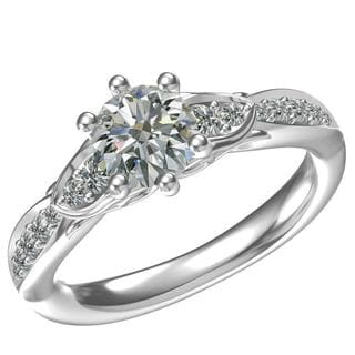 Sterling-silver 1ct Round Center 14 0.26tcw Side Cubic Zirconia Classic Engagement Ring