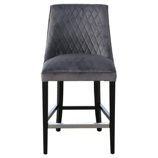 Marlin Grey Leather Wing Back 26 Quot Counter Stool Free