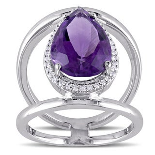 Miadora Signature Collection 14k White Gold Pear-Cut African Amethyst and 1/5ct TDW Diamond Halo Cocktail Ring (G-H, SI1-SI2)