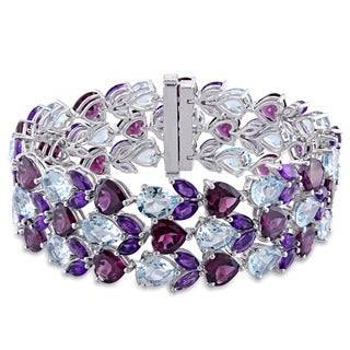 Miadora Signature Collection Sterling Silver Multi-Gemstone Cluster Bracelet
