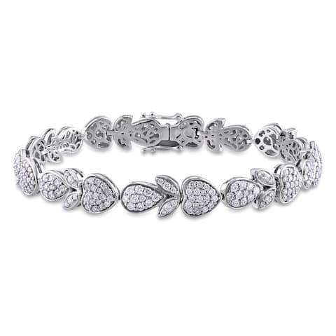 Miadora Signature Collection 14k White Gold 3 3/4ct TDW Diamond Multi-Shape Tennis Bracelet