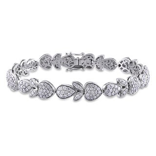 Miadora Signature Collection 14k White Gold 3 3/4ct TDW Diamond Multi-Shape Tennis Bracelet (G-H, SI1-SI2)