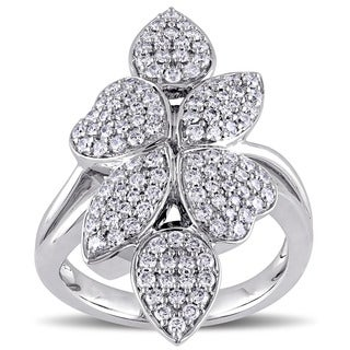 Miadora Signature Collection 14k White Gold 1ct TDW Diamond Leaf and Heart Cluster Ring