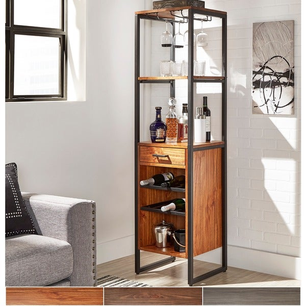 Annata Metal and Wood Wine Tower by iNSPIRE Q Classic