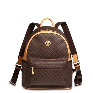 Rioni Signature Brown Leather Round Dome Backpack