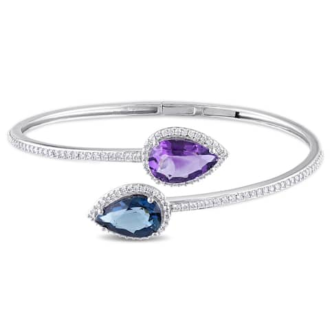Miadora Signature Collection 14k White Gold London Blue Topaz Amethyst and 3/4ct TDW Diamond Bypass Bangle (G-H, SI1-SI2)