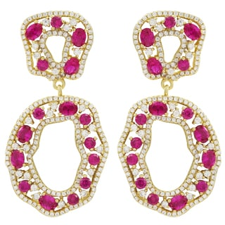 Luxiro Gold Finish Sterling Silver Lab-created Ruby Dangle Earrings