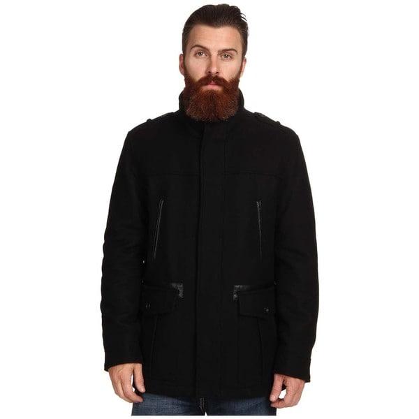 Cole Haan Men's Black Wool Car Coat