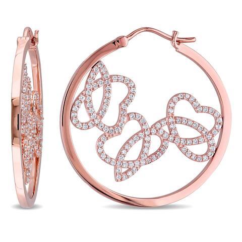 Miadora Signature Collection 14k Rose Gold 1ct TDW Diamond Openwork Hoop Earrings