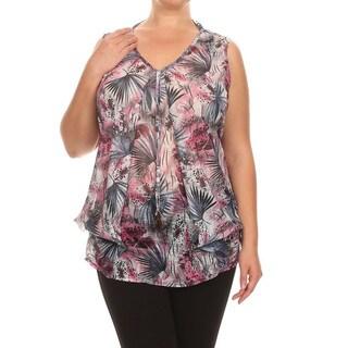 Women's Multicolor Plus-size Sleeveless V-neck Mesh Detail Tunic