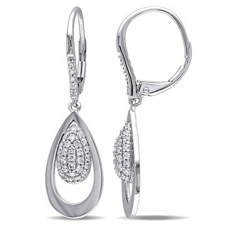 Miadora Signature Collection 14k White Gold 1/2ct TDW Diamond Teardrop Cluster Dangle Leverback Earrings (G-H, SI1-SI2)