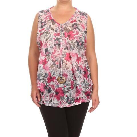 Women's Rayon Blend Plus Size Sleeveless V-neck Mesh Detail Tunic