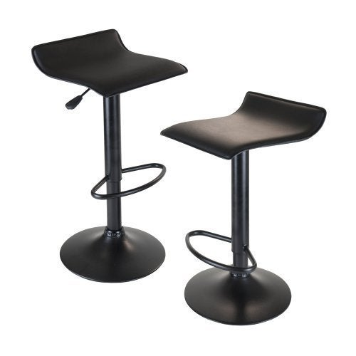 Obsidian Set of 2 Adjustable Swivel Air Lift Stool, Backl...