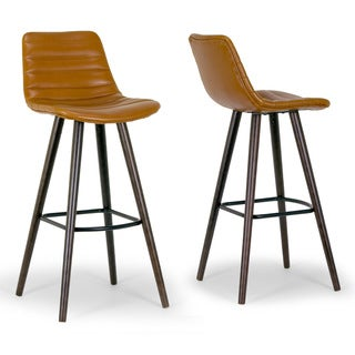 Set of 2 Alden Caramel Brown Bar Stool with Beech Legs