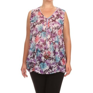 Women's Rayon and Spandex Plus-size Sleeveless V-neck Mesh Detail Tunic