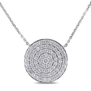 Miadora Signature Collection 14k White Gold 1 1/10ct TDW Diamond Round Cluster Station Necklace