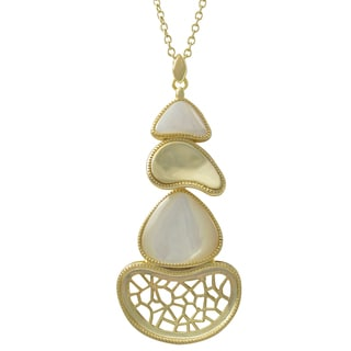 Luxiro Gold Finish Sterling Silver Mother of Pearl Pendant Necklace