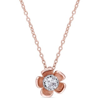 Laura Ashley White Sapphire Flower Necklace in Two-Tone White and Rose Plated Sterling Silver