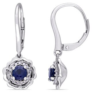 Laura Ashley Sapphire and 1/6ct TDW Diamond Halo Leverback Earrings in 10k White Gold (G-H,I2-I3)