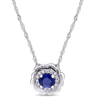 Laura Ashley Sapphire and Diamond Accent Flower Station Necklace in 10k White Gold (G-H,I2-I3)