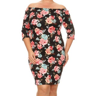 Women's Plus Size Floral Pattern Bodycon Dress