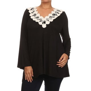 Women's Rayon and Spandex Plus-size Solid Crochet Trim V-neck Tunic