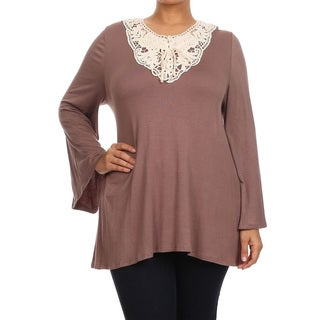 Women's Rayon and Spandex Plus-size Crochet Panel Detail Tunic