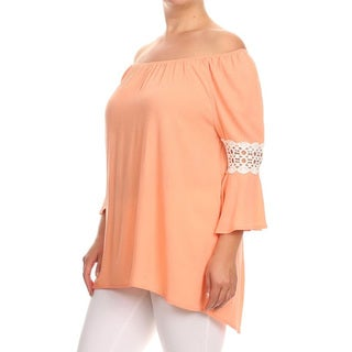 Women's Rayon Plus-size Solid Floral Embossing Tunic