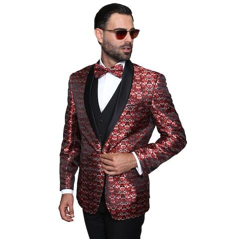 Statement Palazio Red Wool 3-piece Shawl Collar Tuxedo Suit