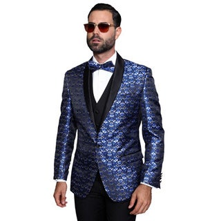 Statement Men's Royal Navy 3-piece Shawl Collar Tuxedo Suit