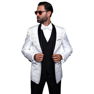 Statement White Navy 3-piece Shawl Collar Tuxedo Suit (Option: 50l)