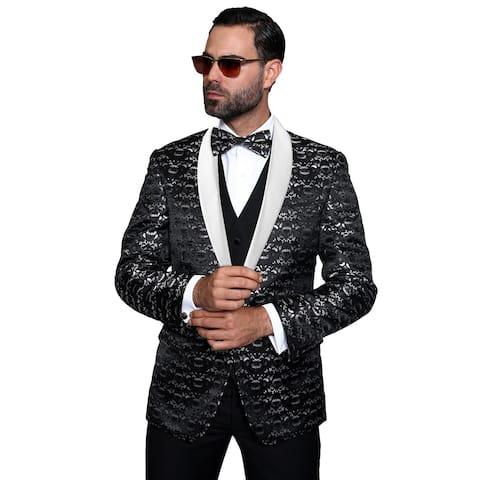 Statement Palazio Men's Black Wool 3-piece Shawl Collar Tuxedo Suit