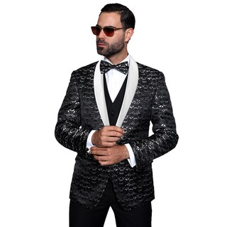 Statement Palazio Men's Black Wool 3-piece Shawl Collar Tuxedo Suit