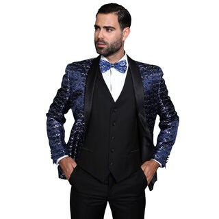 Statement Palazio Navy Wool 3-piece Shawl Collar Tuxedo Suit