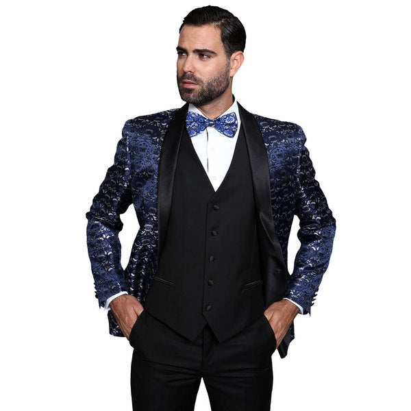Statement Palazio Navy Wool 3-piece Shawl Collar Tuxedo Suit
