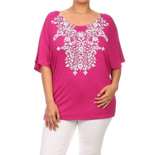 Women's Plus-size Solid Floral Embossing Rayon, Spandex Tunic