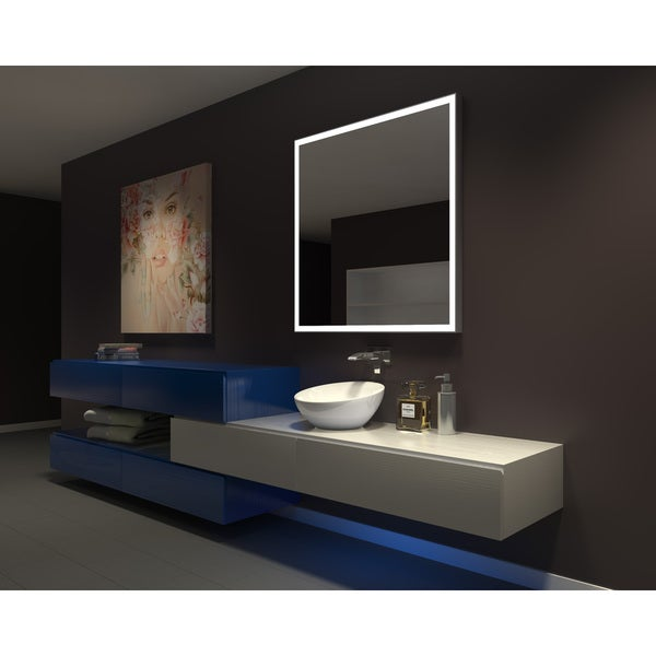 ib mirror dimmable lighted bathroom mirror galaxy 42 in x 42 in 6000 k - Lighted Bathroom Mirror