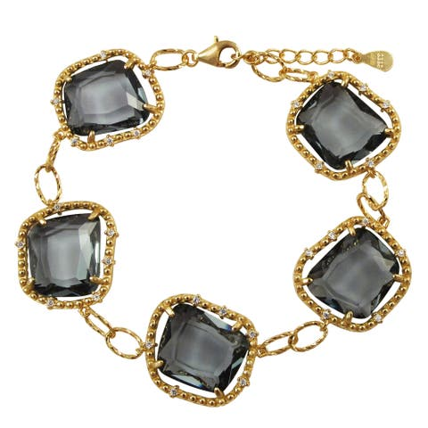 Luxiro Gold Finish Sterling Silver Grey Sliced Glass and Cubic Zirconia Bracelet - White