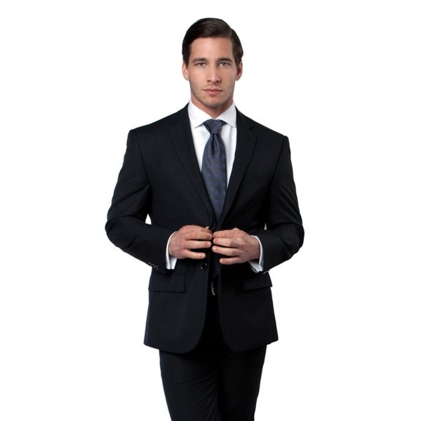 MJ123-01 Men's Black Two Button Sport Jacket
