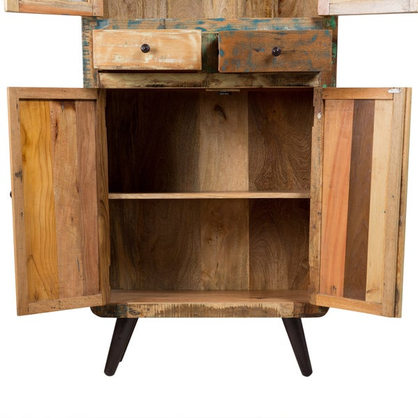 Wanderloot Route 66 Reclaimed Wood Mid Century Modern Tall Curio Display  Cabinet With 2 Drawers, 4 Doors   Free Shipping Today   Overstock.com    20958741
