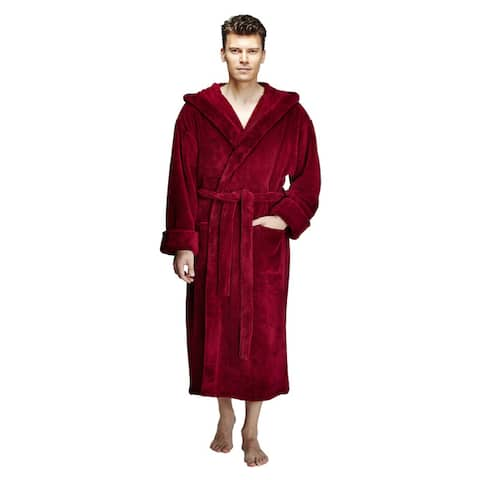 Men's Hooded Fleece Bathrobe Turkish Soft Plush Robe