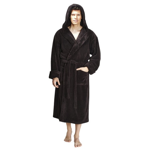 Shop Men s Hooded Fleece Bathrobe Turkish Soft Plush Robe - Ships To ... 038d674ea