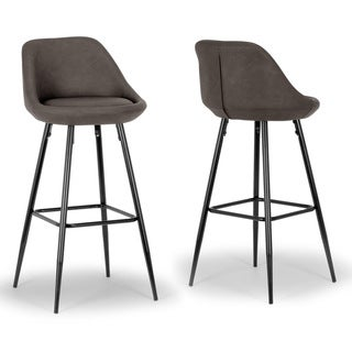 Set of 2 Aldis Brown Faux Leather Barstool with Black Metal Legs and Decorative Zipper