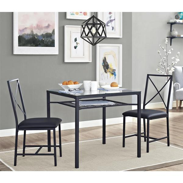 Dorel Living 3-piece Metal and Glass Black Dinette